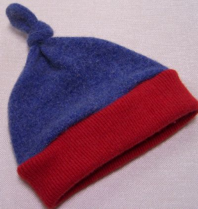 Denim/Red Cashmere Knotty Hat, sz 1