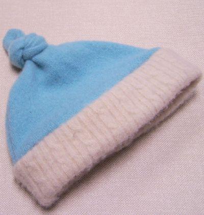 Robin's Egg/Natural Cashmere Knotty Hat, sz 1