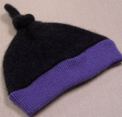 Charcoal/Orchid Cashmere Knotty Hat, sz 1