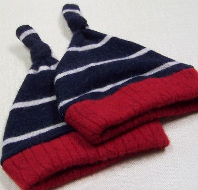 Nautical Stripe Cashmere Knotty Hat, sz 1