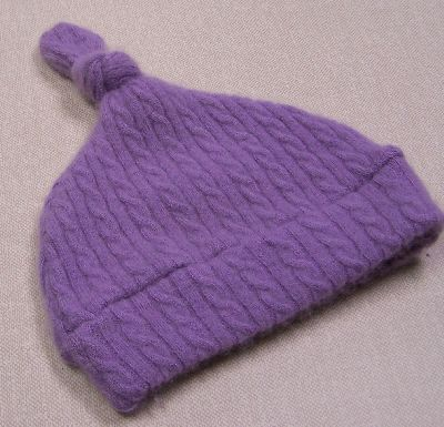 Cabled Lavender Cashmere Knotty Hat, sz 2