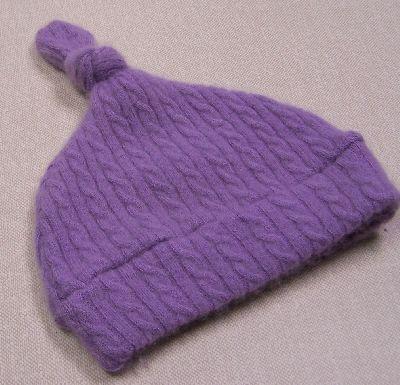 Cabled Lavender Cashmere Knotty Hat, sz 2