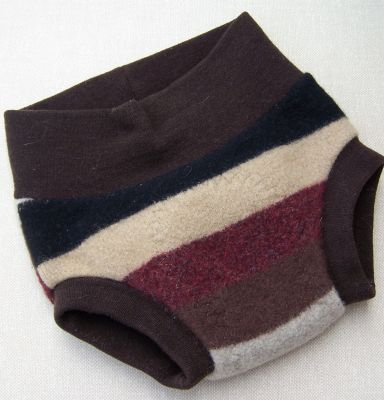 Chocolate Stripe Recycled Wool Soaker, sz S