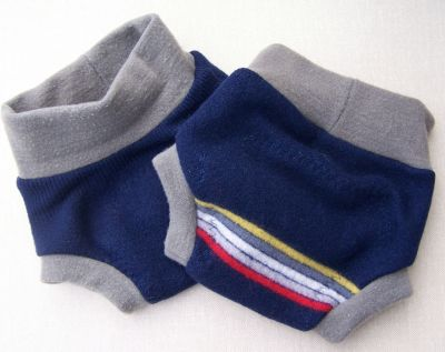 Navy Stripe Wool Soaker, sz M