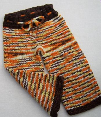 Autumn Colorway Hand Knit Longies, sz M/L