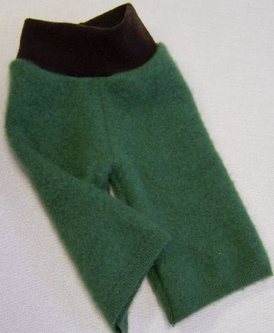 Kelly Green/Chocolate Cashmere Longies, sz S-