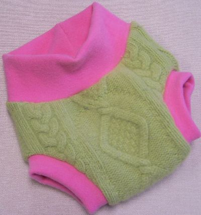 Cabled Charteuse/Rose Hybrid Soaker, sz M-