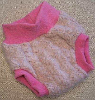 Cabled Petal Pink Hybrid Soaker, sz L-