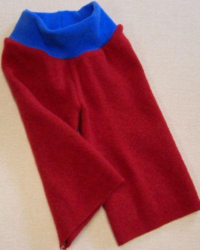 Cherry/Brilliant Blue Cashmere Longies, sz S/M (shorter rise of 16)-