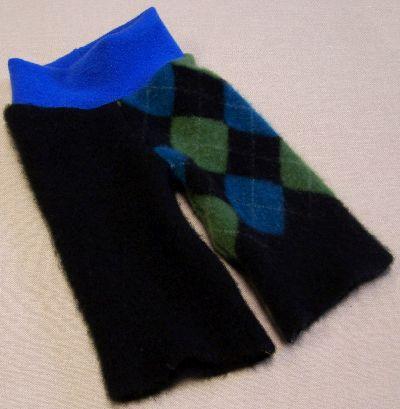 Black Argyle Cashmere Longies, sz S-