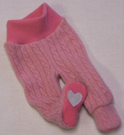 Sweetheart Cashmere Footies, sz S-