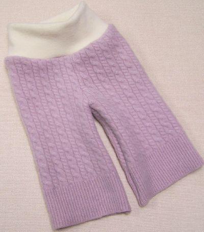 Lilac/Natural Cashmere Longies, sz S-